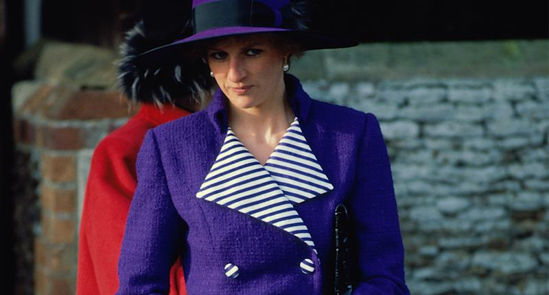 Diana wears purple coat and hat at Sandringham on Christmas Day