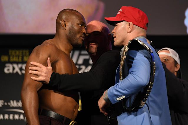 (L-R) Kamaru Usman and Colby Covington face off during the UFC 245 press conference at the Hulu Theatre at Madison Square Garden on November 1, 2019 in New York, New York. (Photo by Josh Hedges/Zuffa LLC via Getty Images)