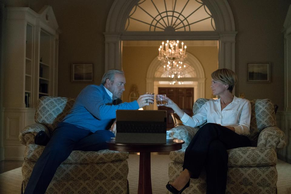 "Kevin Spacey and Robin Wright in ""House of Cards,"" 2017. (Photo: David Giesbrecht/©Netflix/courtesy Everett Collection)"