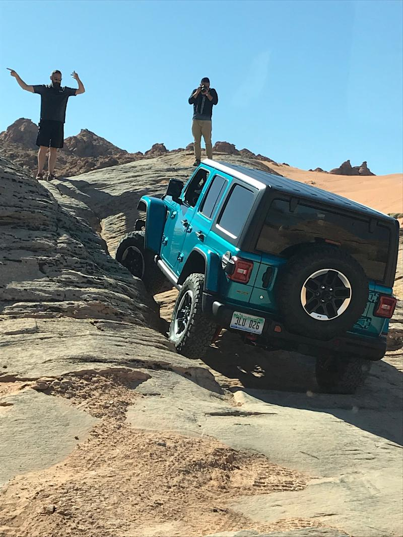 The 2020 Jeep Wrangler Ecodiesel takes on rocks in Utah.