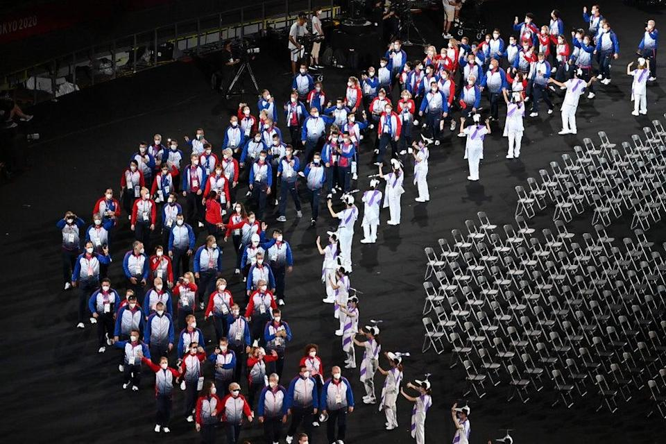 Russia's team arrive during the opening ceremony for the Tokyo 2020 Paralympic Games (AFP via Getty Images)