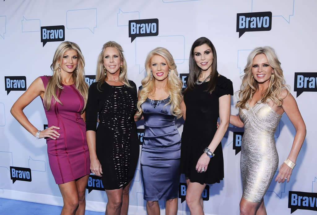 "Alexiis Bellino, Vicki Gunvalson, Gretchen Rossi, Heather Dubrow, and Tamra Barney of ""<a href=""http://tv.yahoo.com/real-housewives-of-orange-county/show/38480"">The Real Housewives of Orange County</a>"" attend Bravo's 2012 Upfront Event at Center 548 on April 4, 2012 in New York City."