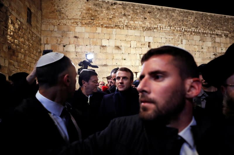 French President Macron visits the Western Wall in Jerusalem's Old City