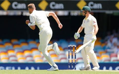 <span>Stuart Broad races to high five his team-mates after dismissing the debutant Bancroft for five</span> <span>Credit: Jason O'Brien/PA Wire </span>