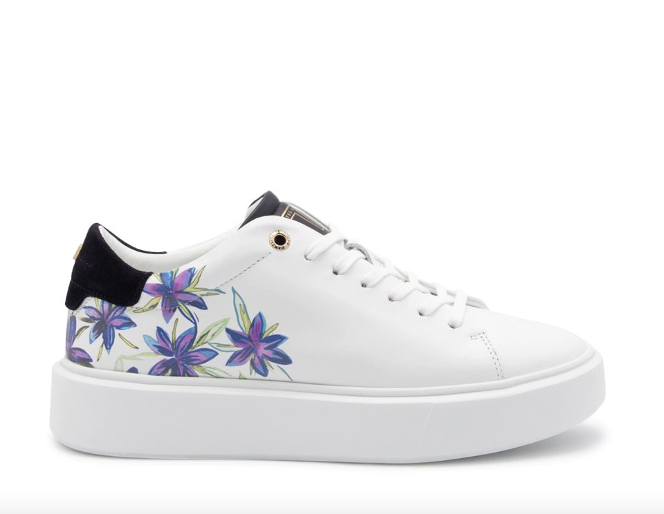 white Ted Baker Faithh Platform Sneaker with purple floral print and black end