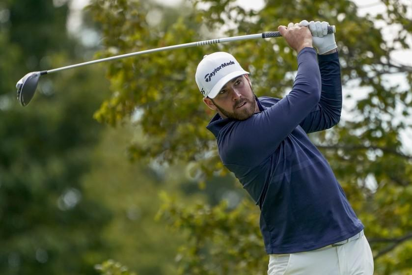 Matthew Wolff, of the United States, plays his shot from the second tee during the final round of the US Open Golf Championship, Sunday, Sept. 20, 2020, in Mamaroneck, N.Y. (AP Photo/Charles Krupa)