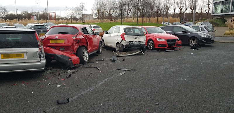 "PIC BY MERCURY PRESS (PICTURED the trail of destruction left by a Range Rover after it drove into 4 parked cars at a gym in Garston, Liverpool) Must've been leg day! Gymgoers were shocked after a bungling female driver in a Range Rover destroyed four parked cars – before driving off. These dramatic scenes show the aftermath at 24/7 Fitness in Garston, Liverpool, this morning [THURS] after four cars were totalled by the clumsy motorist, believed to be in her early to mid-twenties. An eyewitness, who asked not to be named, spotted the carnage after finishing her workout. The woman said: ""I walked out of the gym and heard a car alarm going off (MERCURY PRESS)"