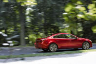 This photo provided by Mazda shows the 2021 Mazda 6, a midsize sedan with a sporty driving style and excellent interior for its price. (Mazda North American Operations via AP)