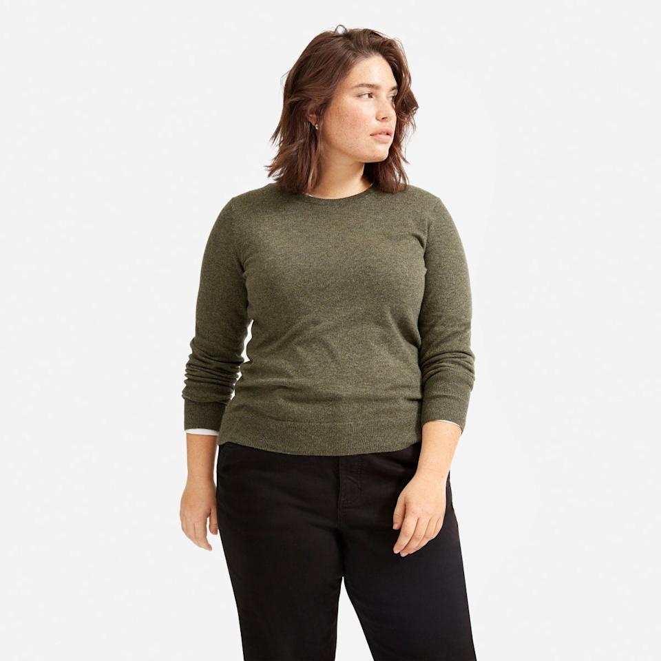 """<h2>The Cashmere Crew</h2><br>This streamlined pullover is an Everlane best-seller for a reason. Cashmere doesn't come cheap, but the retailer has managed to get the price down to $100. (There are even a few colorways on sale for $75.) <br><br><strong>Everlane</strong> The Cashmere Crew, $, available at <a href=""""https://go.skimresources.com/?id=30283X879131&url=https%3A%2F%2Fwww.everlane.com%2Fproducts%2Fwomens-cashmere-crew2-loden"""" rel=""""nofollow noopener"""" target=""""_blank"""" data-ylk=""""slk:Everlane"""" class=""""link rapid-noclick-resp"""">Everlane</a>"""