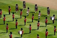 <p>Music at today's ceremony was performed by a Massed Band of the Household Division, which included 1st Battalion<br>Scots Guards Pipes and Drums.</p>