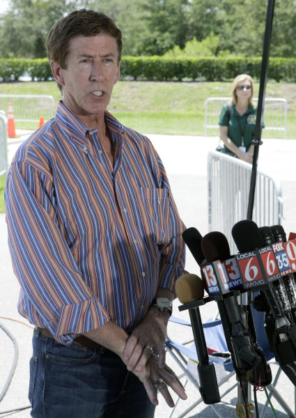 Mark O'Mara, attorney for George Zimmerman, makes comments after Zimmerman returned to the John E. Polk Correctional Facility, Sunday, June 3, 2012, in Sanford, Fla. Zimmerman is charged with second-degree murder in the shooting of Trayvon Martin. (AP Photo/John Raoux)