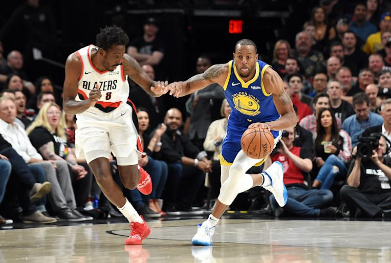 Golden State forward Andre Iguodala's MRI results came back negative. (Photo by Steve Dykes/Getty Images)