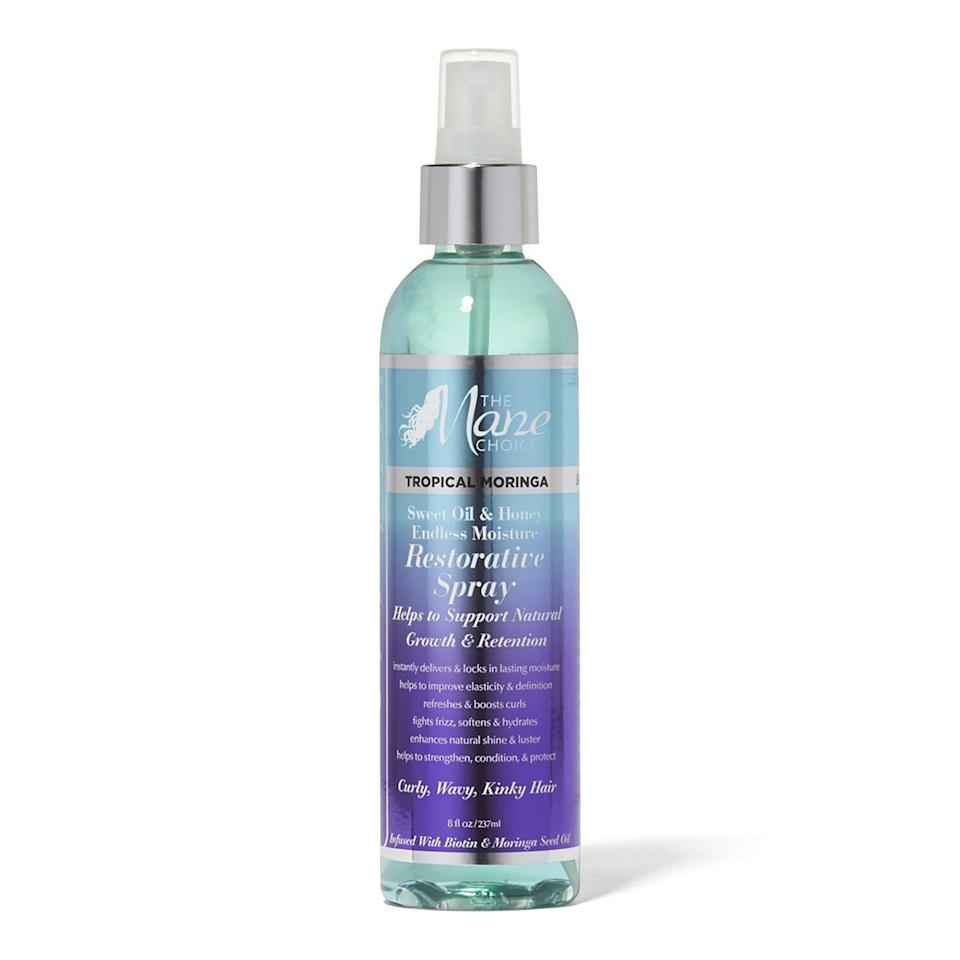 """The multitasking Tropical Moringa Daily Restorative Spray from The Mane Choice not only hydrates and refreshes curls, but it's also infused with moringa oleifera seed oil to help cut back on breakage. There's also <a href=""""https://www.allure.com/story/biotin-hair-growth-benefits?mbid=synd_yahoo_rss"""" rel=""""nofollow noopener"""" target=""""_blank"""" data-ylk=""""slk:strengthening biotin"""" class=""""link rapid-noclick-resp"""">strengthening biotin</a> and moisture-retaining pro-Vitamin B5 to combat dryness. Use it to revive dull, damaged hair in just a few spritzes."""