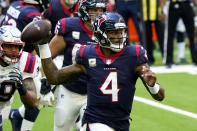 Houston Texans quarterback Deshaun Watson (4) looks to throw against the New England Patriots during the first half of an NFL football game, Sunday, Nov. 22, 2020, in Houston. (AP Photo/David J. Phillip)