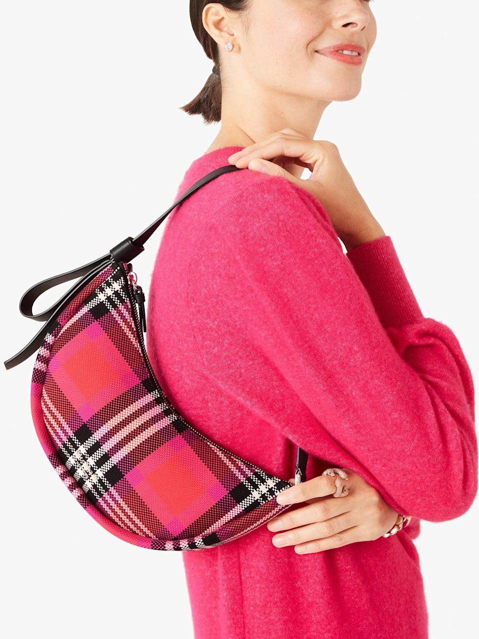 <p>How could you ever say no to this <span>Smile Foliage Plaid Small Shoulder Bag</span> ($198)? It also comes in leopard print.</p>