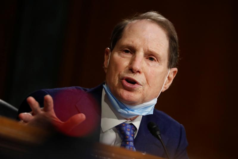 U.S. Sen. Ron Wyden (D-OR) speaks during a Senate Intelligence Committee nomination hearing for Rep. John Ratcliffe (R-TX), on Capitol Hill in Washington, U.S., May 5, 2020. Andrew Harnik/Pool via REUTERS