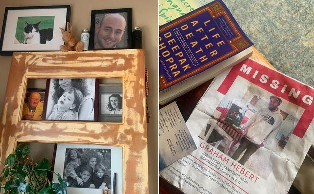 Left: In a prominent corner in her living room, Michele Bourgeois keeps photos of her son, Graham Hebert, and his liquid and bone remains (the two bottles on the top shelf). Right: A poster asking for the public's help in locating Hebert, who went missing on New Year's Day, 2021. (Photo: Dominique Mosbergen)