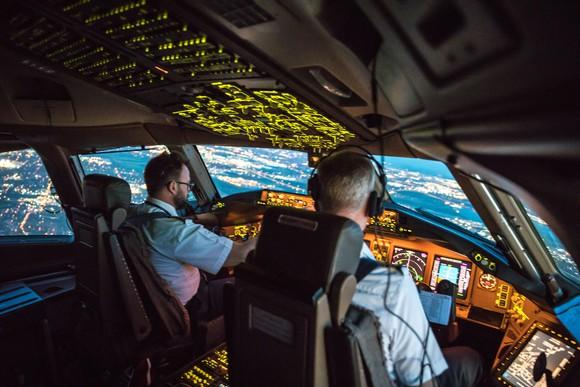 Airline pilots at work.