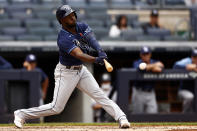 Tampa Bay Rays' Randy Arozarena hits an RBI single during the fifth inning of a baseball game against the New York Yankees on Monday, May 31, 2021, in New York. (AP Photo/Adam Hunger)