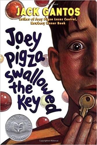 Book cover for Joey Pigza Swallowed the Key by Jack Gantos. Shows a half-face of a young boy with a key and worried eyes