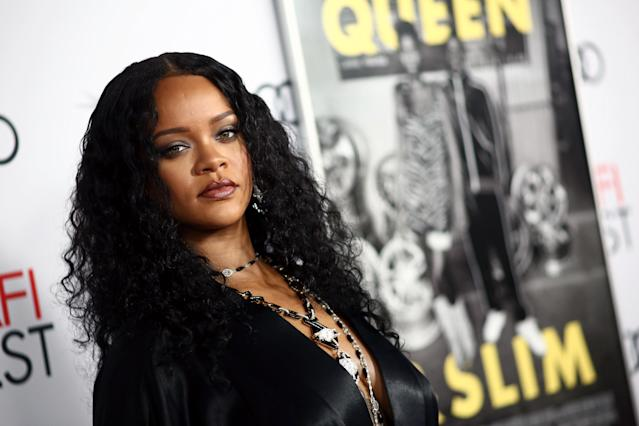 "HOLLYWOOD, CALIFORNIA - NOVEMBER 14: Rihanna attends the AFI FEST 2019 Presented By Audi premiere of ""Queen & Slim"" at TCL Chinese Theatre on November 14, 2019 in Hollywood, California. (Photo by Tommaso Boddi/WireImage)"