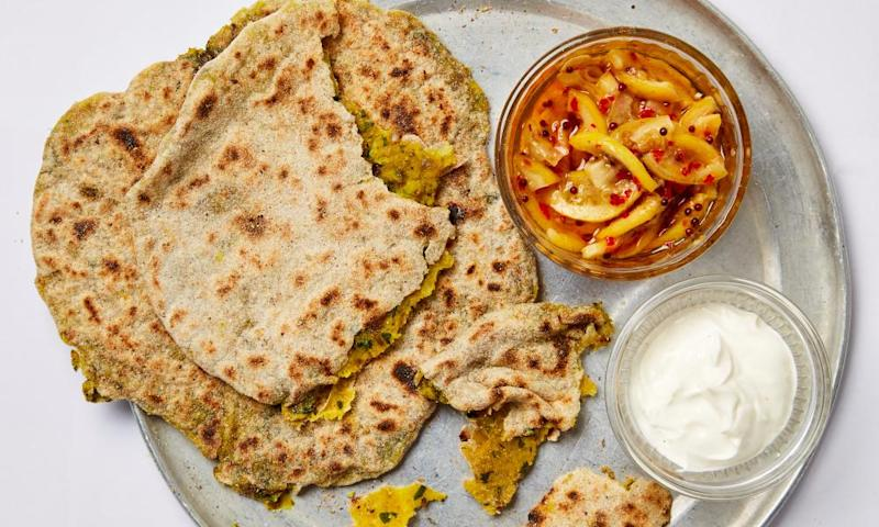 Meera Sodha's aloo paratha with quick lemon pickle.