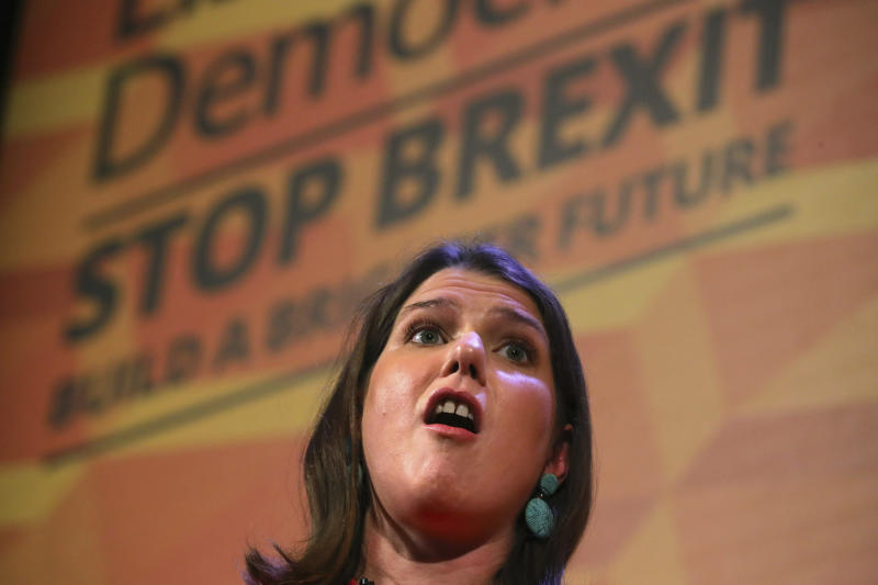 Britain's Liberal Democrats leader Jo Swinson makes a speech at a rally at the Battersea Arts Centre in Lavender Hill, while on the General Election campaign trail in London, Saturday, Nov. 9, 2019. Britain goes to the polls on Dec. 12.  (Aaron Chown/PA via AP)