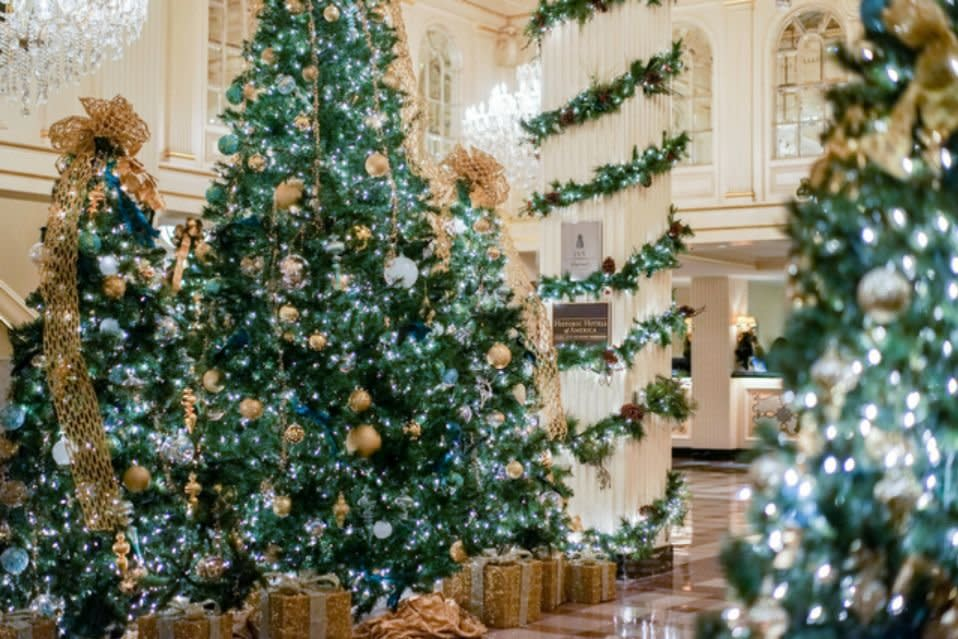 "<p>New Orleans, Louisiana</p> <p>This historic French Quarter hotel hosts an unforgettable holiday celebration that includes caroling and Réveillon dinners. You can find the Réveillon menu at the hotel's Criollo Restaurant. <a href=""https://hotelmonteleone.com/"" target=""_blank"">hotelmonteleone.com</a></p>"