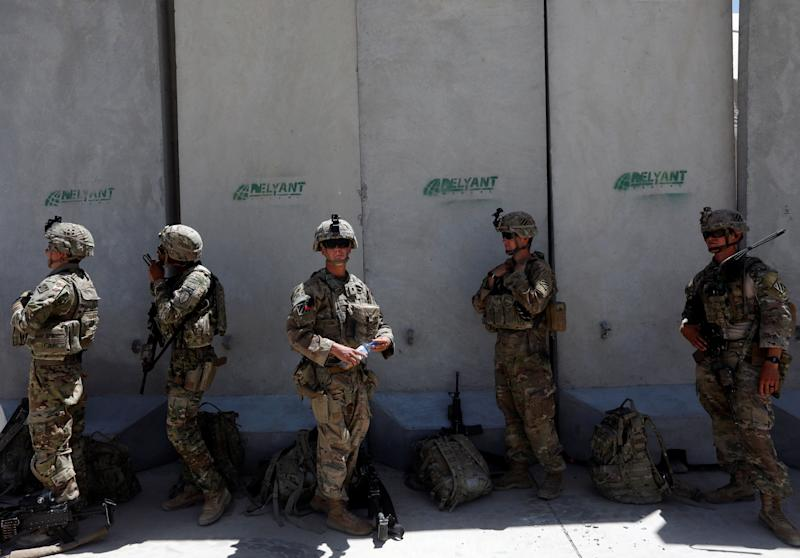 There are roughly 12,000 U.S. troops left in Afghanistan, the top American commander in Afghanistan said Monday. U.S. troops are seen at an Afghan National Army Base in Logar province, Afghanistan, last year. (Photo: Omar Sobhani/Reuters)