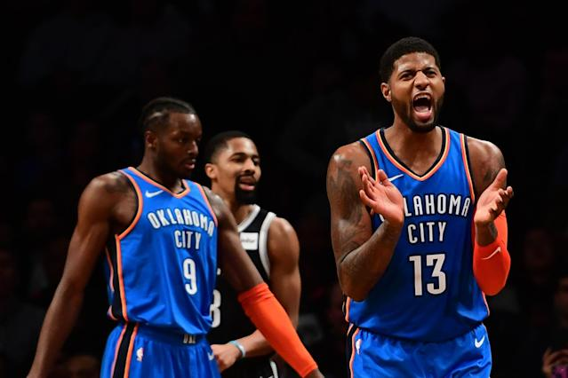 Paul George scored 25 in the fourth quarter to lead the Thunder in an improbable rally to beat the Nets. (Getty)