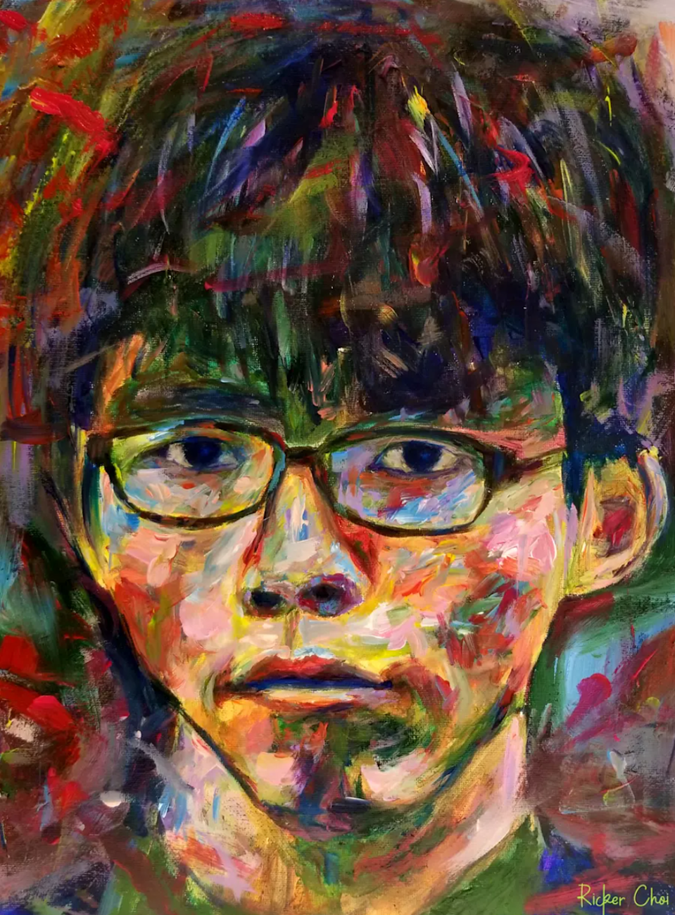 A painting by Ricker Choi depicts jailed Hong Kong activist Joshua Wong Chi-fung. Illustration: Ricker Choi