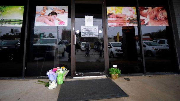 PHOTO: A make-shift memorial is seen outside a business, March 17, 2021, where a multiple fatal shooting occurred the day before, in Acworth, Ga. (Mike Stewart/AP)