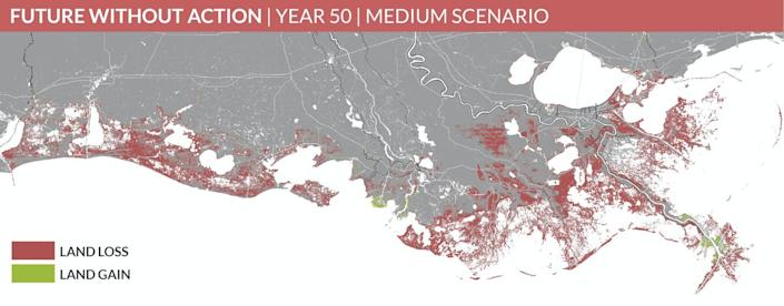 A map of southern Louisiana showing expected land loss by 2050.