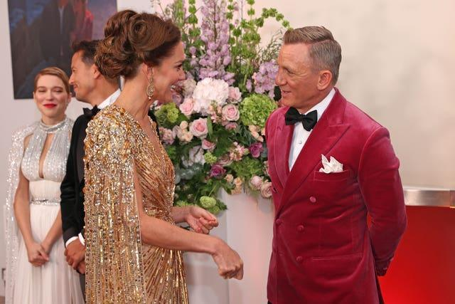 The Duchess of Cambridge meets Daniel Craig upon her arrival for the World Premiere of No Time To Die