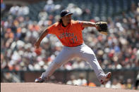 Houston Astros' Luis Garcia throws against the San Francisco Giants during the first inning of a baseball game in San Francisco, Sunday, Aug. 1, 2021. (AP Photo/Jed Jacobsohn)