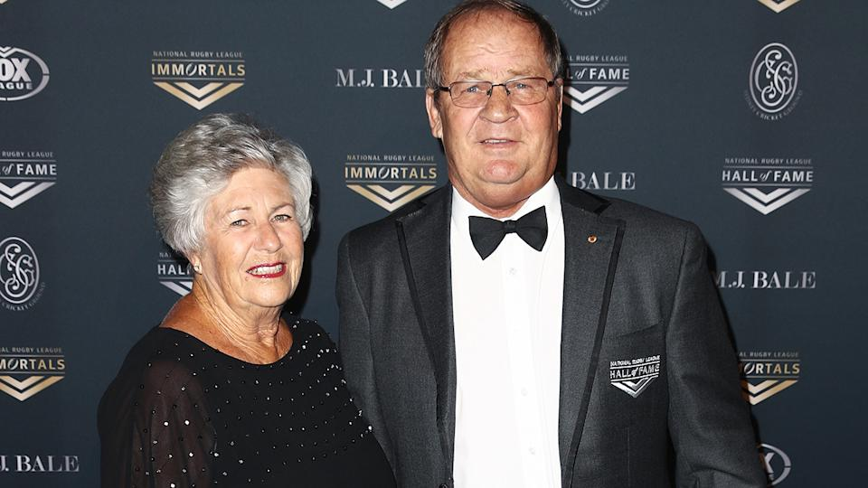 Tommy Raudonikis and partner Trish Brown, pictured here at the 2018 NRL Hall of Fame ceremony.