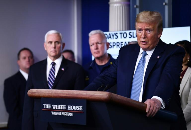 US President Donald Trump speaks during a press briefing at the White House in Washington, DC, on March 16, 2020