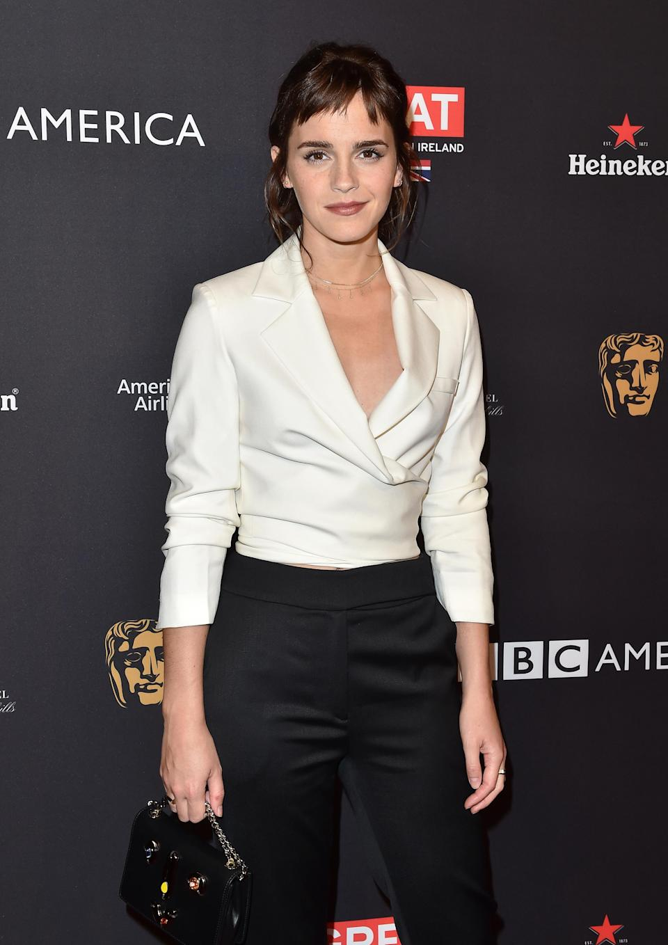Actress Emma Watson arrives at The BAFTA Los Angeles Tea Party at the Four Seasons Hotel in Los Angeles, California in 2016. (Photo: Axelle/Bauer-Griffin/FilmMagic)