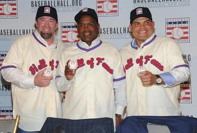 Left to right: Jeff Bagwell, Tim Raines and Ivan Rodriguez are ready to take their place in the Baseball Hall of Fame. (AP)