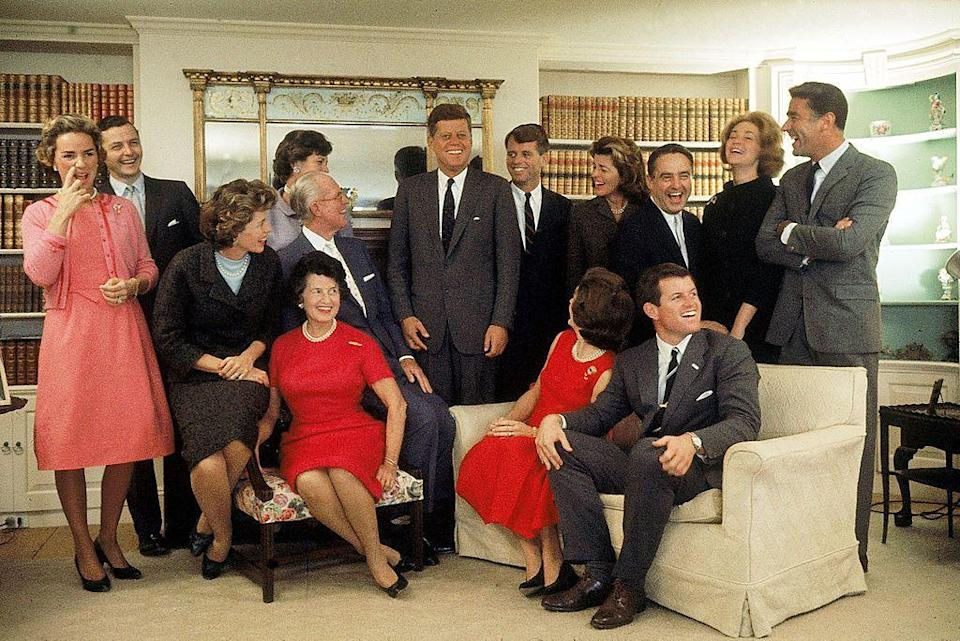 <p>A group portrait of the Kennedy family at their home in Hyannis Port on the night after John F. Kennedy won the 1960 Presidential election, Sitting, from left, Eunice Shriver (on chair arm), matriarch Rose Kennedy, patriarch Joseph Kennedy, on chair arm), First Lady Jacqueline Kennedy, and Ted Kennedy. Back row, from left, Ethel Kennedy, Jean Kennedy's husband Stephen Smith, Jean, JFK, RFK, Pat Lawford, Sargent Shriver, Joan Kennedy, and Peter Lawford.</p>