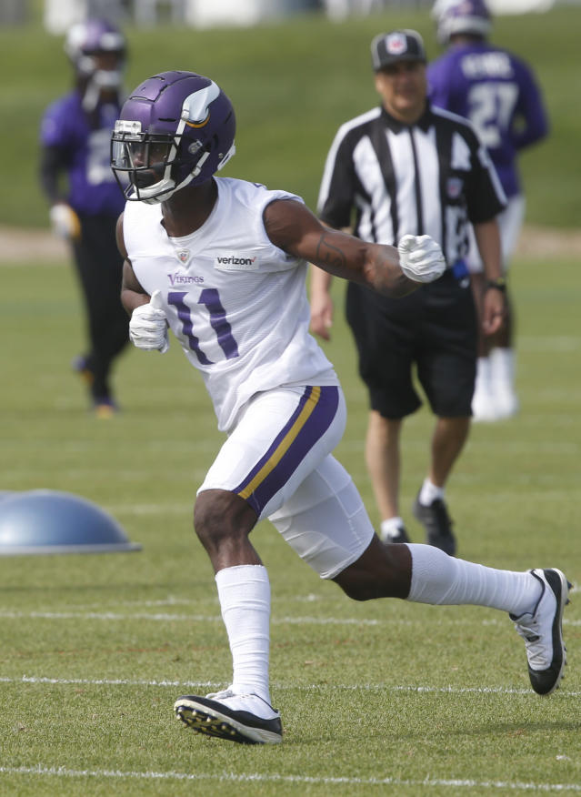 Minnesota Vikings wide receiver Laquon Treadwell runs a pass route during practice at the NFL football team's training camp in Eagan, Minn., Thursday, June 14, 2018. (AP Photo/Jim Mone)