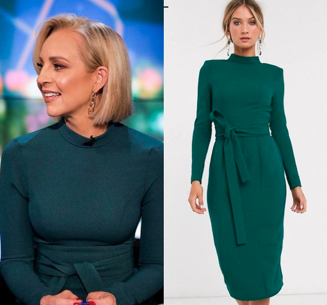Carrie Bickmore in a green ASOS dress