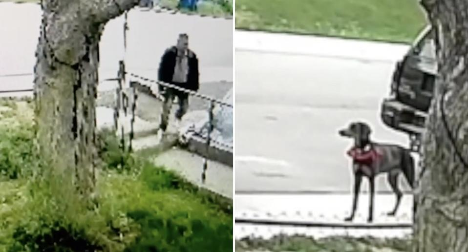 A man pictured outside a home along with a Doberman.