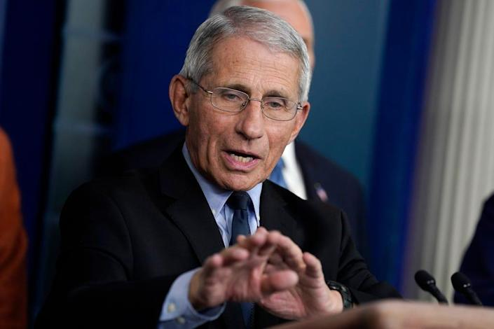 Dr. Anthony Fauci, director of the National Institute of Allergy and Infectious Diseases, speaks to the Coronavirus Task Force at a press conference on March 17, 2020.