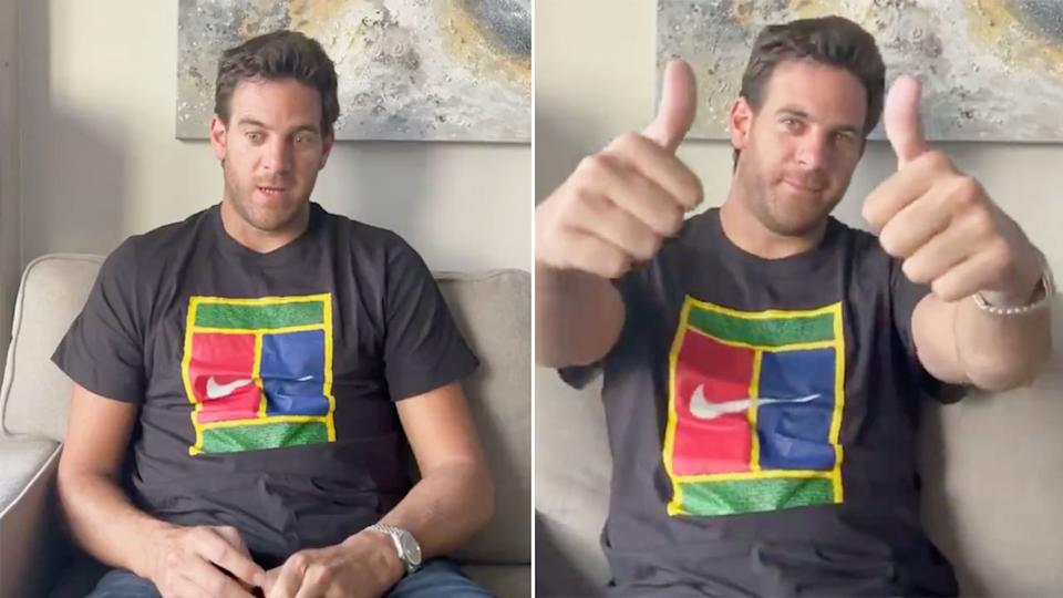 Juan Martin del Potro is seen here confirming to fans that he is undergoing knee surgery for a fourth time.