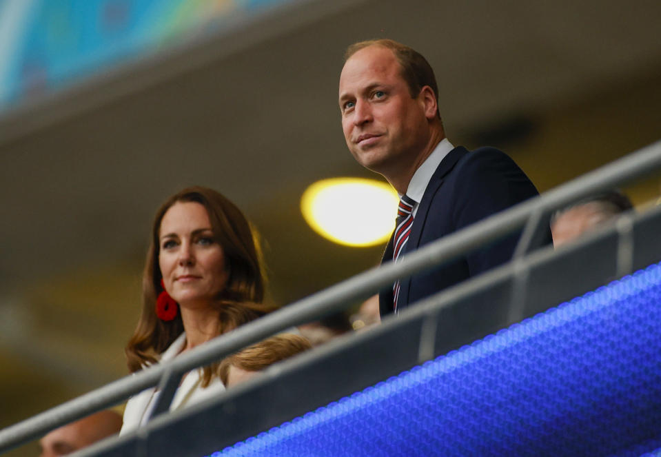 Britain's Prince William and his wife Kate watch the Euro 2020 soccer championship final between England and Italy at Wembley stadium in London, Sunday, July 11, 2021. (John Sibley/Pool Photo via AP)