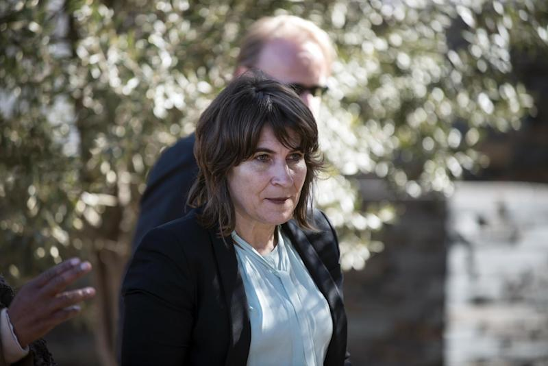 Dutch Minister of Foreign Trade and Development Lilianne Ploumen arrives at the Hector Pieterson Memorial in Soweto, South Africa, on July 7, 2014 (AFP Photo/Mujahid Safodien)