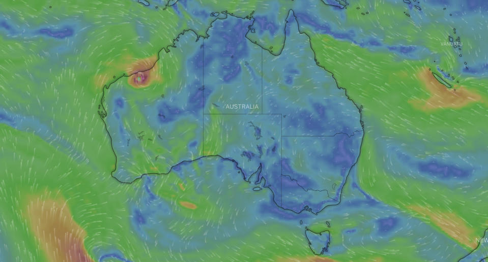 A weather map shows a cyclone on in WA.