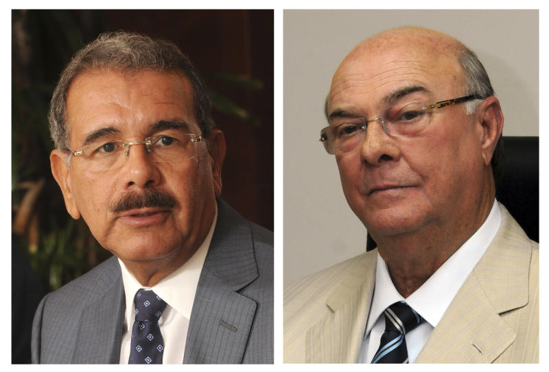 In this combo of two photographs, Danilo Medina, left, presidential candidate of the ruling Dominican Liberation Party, speaks during an interview on May 15, 2012, and Hipolito Mejia, former president and candidate of the opposition Dominican Revolutionary Party, listens to a question on May 17, 2012, both in Santo Domingo, Dominican Republic. Medina and Mejia are the two leading candidates for the Sunday presidential elections. (AP Photo/Manuel Diaz)