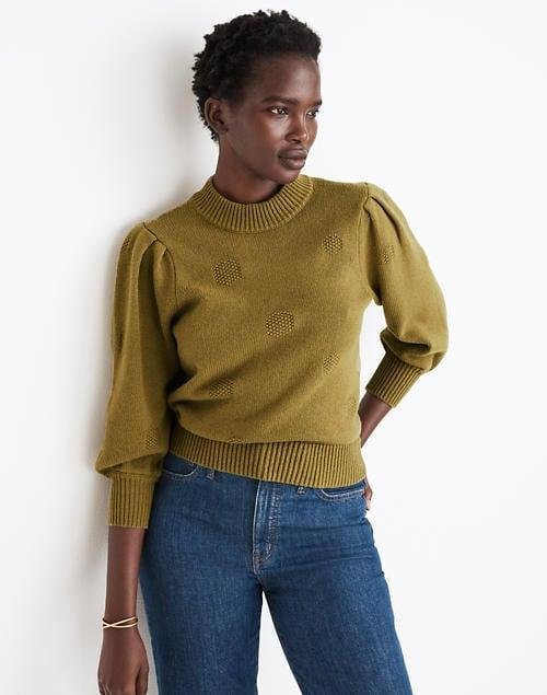 <p>This <span>Dotted Eaton Puff-Sleeve Pullover Sweater</span> ($70) is polished and flattering.</p>